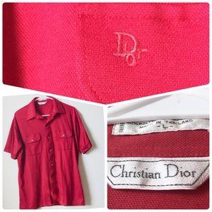 Christian Dior Red Polo, Vintage, Logo on Pocket